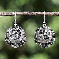 Silver dangle earrings, 'Antique Splendor' - Silver Dangle Earrings