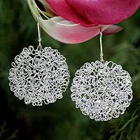Silver dangle earrings, 'Floral Network' - Silver dangle earrings
