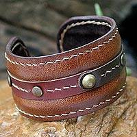 Leather cuff bracelet, 'Going Solo' - Handmade Leather Cuff Bracelet