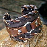 Leather cuff bracelet, 'Western' - Leather Cuff Bracelet from Thailand