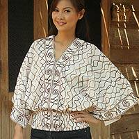 Cotton blouse, 'Northern Pride' - Embroidered Cotton Blouse