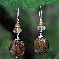 Pearl and citrine dangle earrings, 'Exuberant Mischief' - Beaded Bronzite and Citrine Earrings