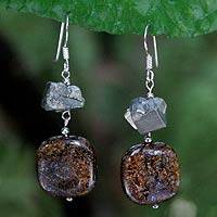 Pyrite and bronzite dangle earrings, 'Ode to Chic' - Bronzite and Pyrite Dangle Earrings