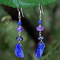 Lapis lazuli and pearl dangle earrings,