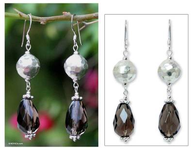 Smoky quartz dangle earrings, 'Symphony' - Smoky quartz dangle earrings
