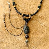 Pearl and smoky quartz pendant necklace, 'Ode to Night' - Smokey Quartz Pendant Necklace