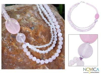 Rose quartz beaded necklace, Pretty Pink