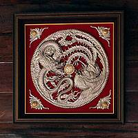 Aluminum repousse panel, 'The Dragon and the Phoenix II' - Hand Crafted aluminium Repousse Relief Panel
