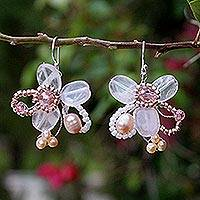 Pearl and rose quartz flower earrings, 'Honey Peach' - Beaded Pearl and Rose Quartz Earrings