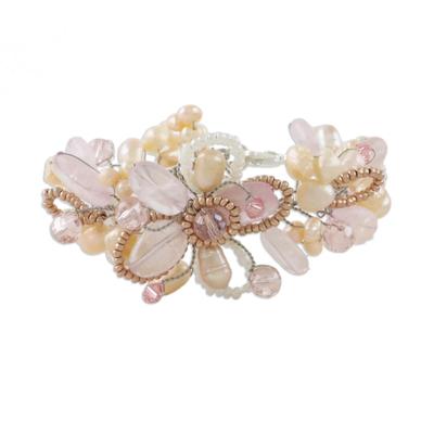 Pearl and Rose Quartz Flower Bracelet