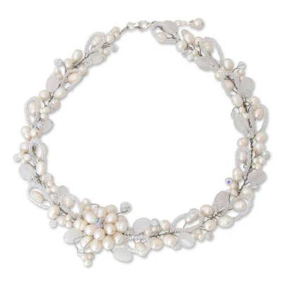 Handcrafted Floral Beaded Quartz and Pearl Necklace