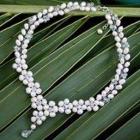 Pearl Y necklace, 'Glamour' - Unique Bridal Pearl Necklace