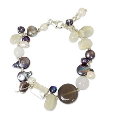 Beaded Quartz and Pearl Bracelet