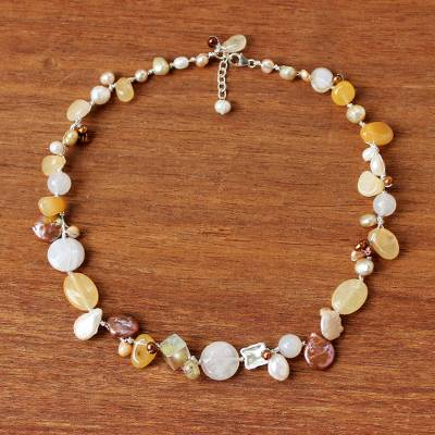 Pearl and quartz choker, 'Lemon Honey' - Handcrafted Quartz and Sunstone Choker Necklace