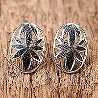 Coconut shell button earrings,