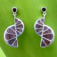 Mango wood dangle earrings, 'Nautilus' - Mango Wood Dangle Earrings