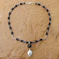 Black agate and hematite pendant necklace, 'Twilight Dreams' - Black agate and hematite pendant necklace