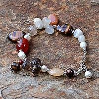 Pearl and quartz beaded bracelet, 'Sun Goddess' - Pearl and quartz beaded bracelet