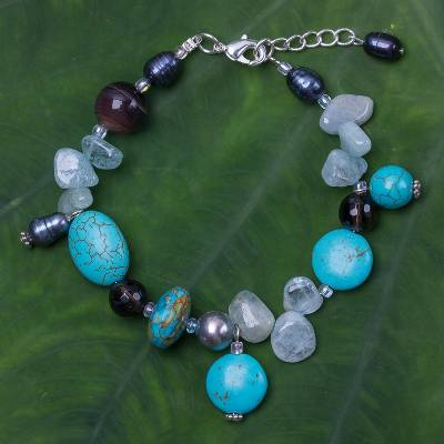 Multi-gemstone beaded bracelet, 'Sky Goddess' - Multi-Gemstone Beaded Bracelet