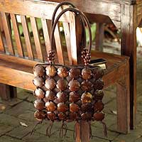 Coconut shell handbag, 'Coco Art' - Coconut shell handbag