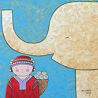 'My Friendly Elephant' - Acrylic Naif Painting