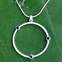 Sapphire pendant necklace, 'Blue Meteors' (Thailand)