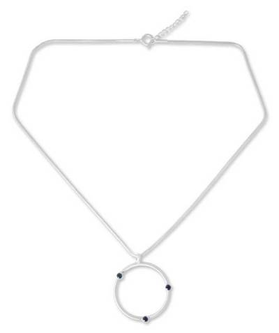 Sterling Silver and Sapphire Pendant Necklace