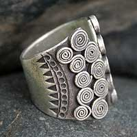 Silver wrap ring, 'The Scroll' - Artisan Crafted Modern Fine Silver Wrap Ring