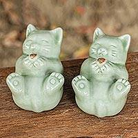Celadon ceramic statuettes, 'Playful Kitties' (pair) - Celadon Ceramic Cat Statuettes (Pair)