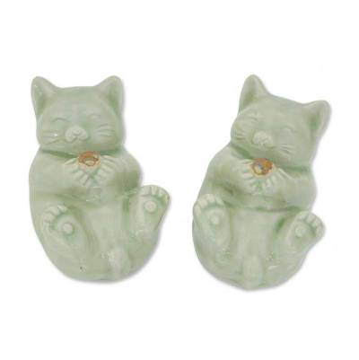 Celadon Ceramic Cat Statuettes (Pair)