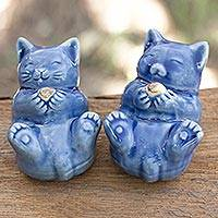 Celadon ceramic statuettes, 'Happy Kitties' (pair) - Hand Made Celadon Ceramic Cat Figurines (Pair)