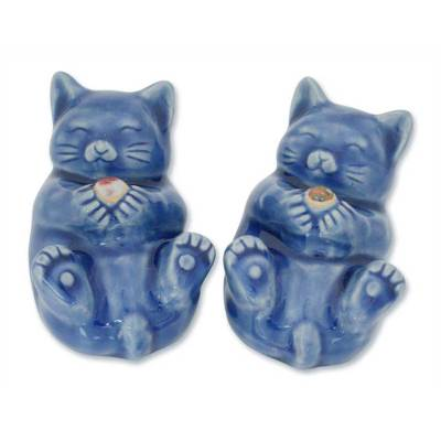 Hand Made Celadon Ceramic Cat Figurines (Pair)