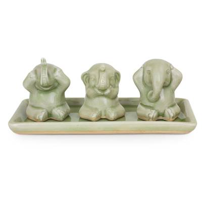 Celadon ceramic figurines (Set of 3)