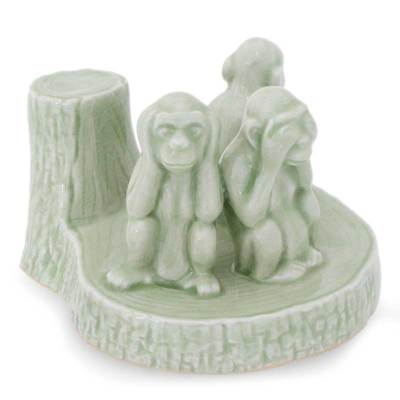 Handcrafted Celadon Ceramic Sculpture