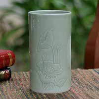 Celadon ceramic vase, 'Lotus Dance' - Handcrafted Celadon Ceramic Vase from Thailand