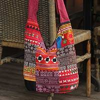 Cotton sling tote bag, 'Hmong Customs' - Hand Crafted Thai Hill Tribe Shoulderbag