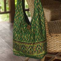 Cotton sling tote bag, 'Royal Thai Emerald' - Hand Crafted Cotton Sling Handbag from Thailand