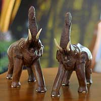 Wood statuettes Lucky Thai Elephants pair Thailand