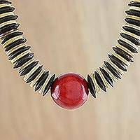 Coconut shell beaded necklace, 'Cherry Coco' - Fair Trade Coconut Shell and Wood Beaded Necklace