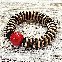 Coconut shell beaded bracelet, 'Cherry Coco' - Unique Coconut Shell Stretch Bracelet