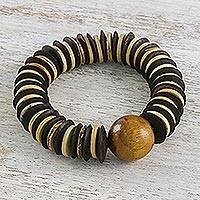 Coconut shell beaded bracelet, 'Mocha Coco' - Unique Coconut Shell Bracelet from Thailand
