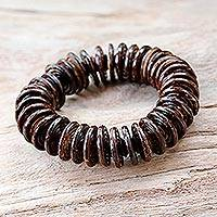 Coconut shell beaded bracelet, 'Natural Coco' - Hand Made Coconut Shell Stretch Bracelet