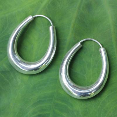 Sterling silver hoop earrings, 'Modern Treasure' - Modern Sterling Silver Hoop Earrings