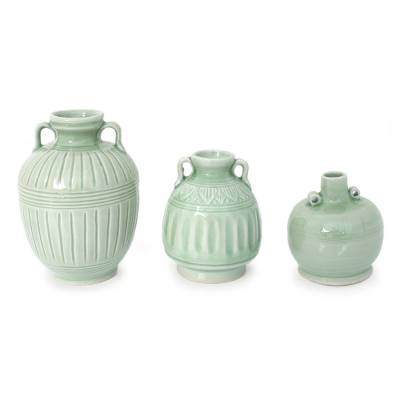 Celadon ceramic vases, 'Sawankhalok Meadows' (set of 3) - Celadon Ceramic Vases (Set of 3)