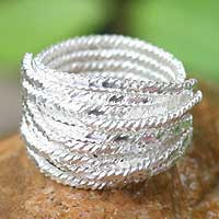Silver band ring, 'Enigma' - Modern Sterling Silver Band Ring