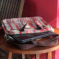 Cotton shoulder bag, 'Red Plaid Office' - Cotton shoulder bag