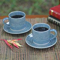 Celadon ceramic cups and saucers, 'Lanna Bouquet' (set for 2) - Celadon ceramic cups and saucers (Set for 2)