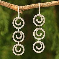 Sterling silver dangle earrings, 'Energy' - Handcrafted Modern Sterling Silver Dangle Earrings