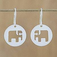 Sterling silver dangle earrings, 'Modern Elephant'