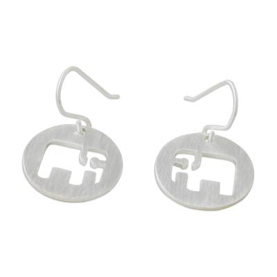 Sterling silver dangle earrings, 'Modern Elephant' - Hand Crafted Sterling Silver Dangle Earrings